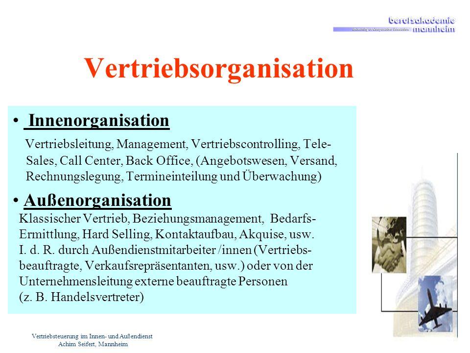Vertriebsteuerung im Innen- und Außendienst Achim Seifert, Mannheim Vertriebsorganisation Innenorganisation Vertriebsleitung, Management, Vertriebscon