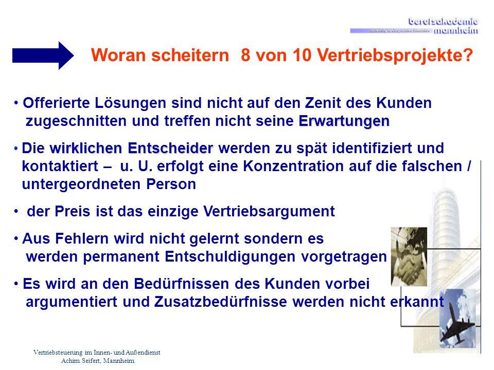 Vertriebsteuerung im Innen- und Außendienst Achim Seifert, Mannheim Erwartungen Offerierte Lösungen sind nicht auf den Zenit des Kunden zugeschnitten