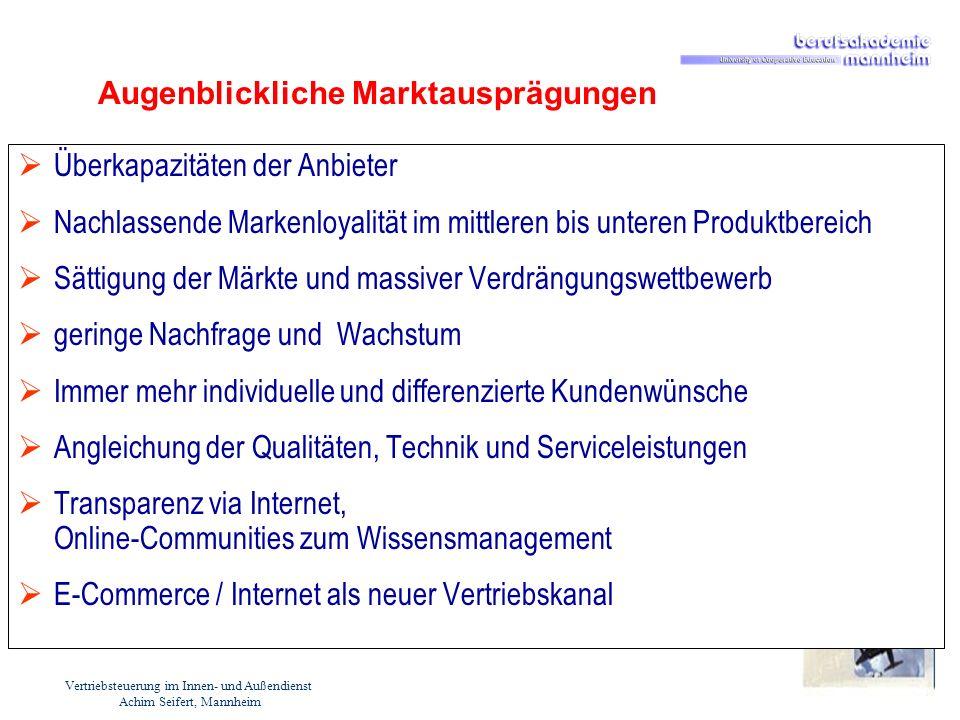 Vertriebsteuerung im Innen- und Außendienst Achim Seifert, Mannheim Augenblickliche Marktausprägungen Überkapazitäten der Anbieter Nachlassende Marken