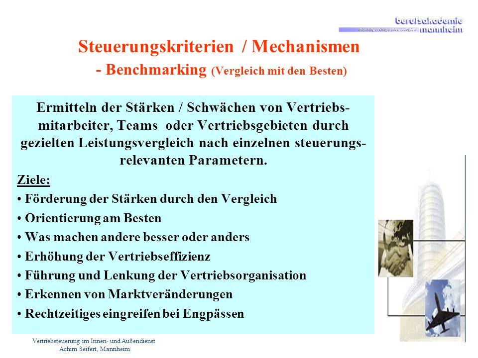Vertriebsteuerung im Innen- und Außendienst Achim Seifert, Mannheim Steuerungskriterien / Mechanismen - Benchmarking (Vergleich mit den Besten) Ermitt