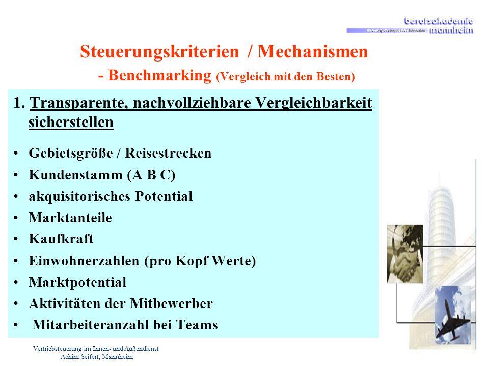 Vertriebsteuerung im Innen- und Außendienst Achim Seifert, Mannheim Steuerungskriterien / Mechanismen - Benchmarking (Vergleich mit den Besten) 1. Tra