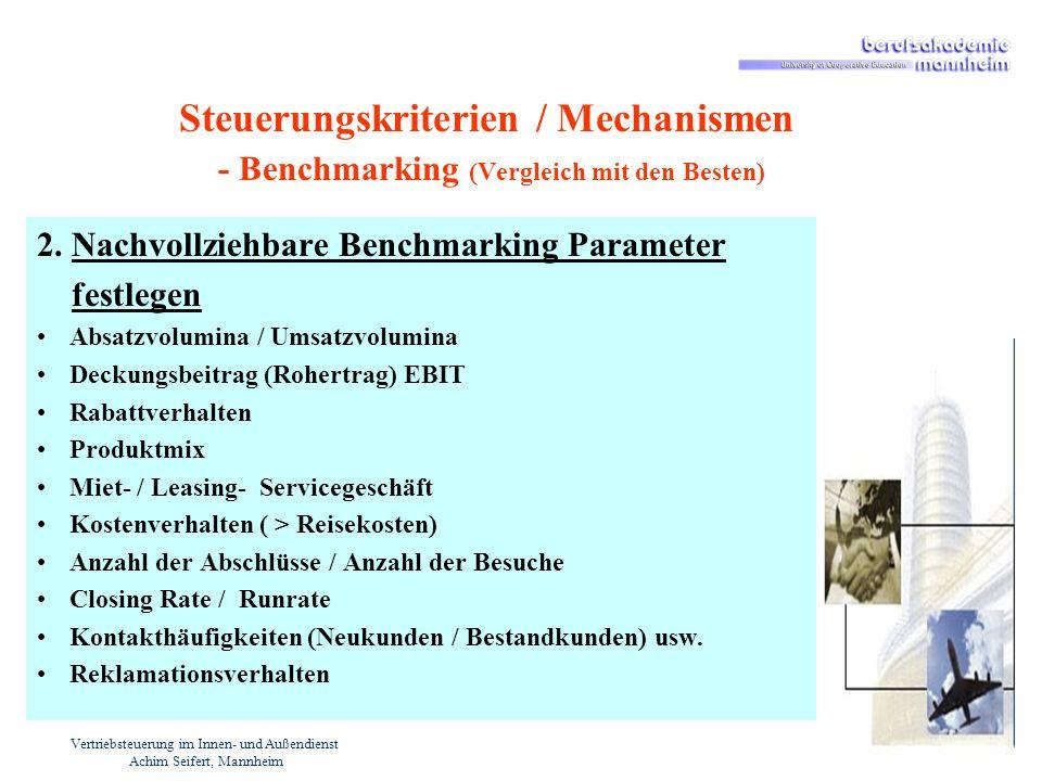 Vertriebsteuerung im Innen- und Außendienst Achim Seifert, Mannheim Steuerungskriterien / Mechanismen - Benchmarking (Vergleich mit den Besten) 2. Nac