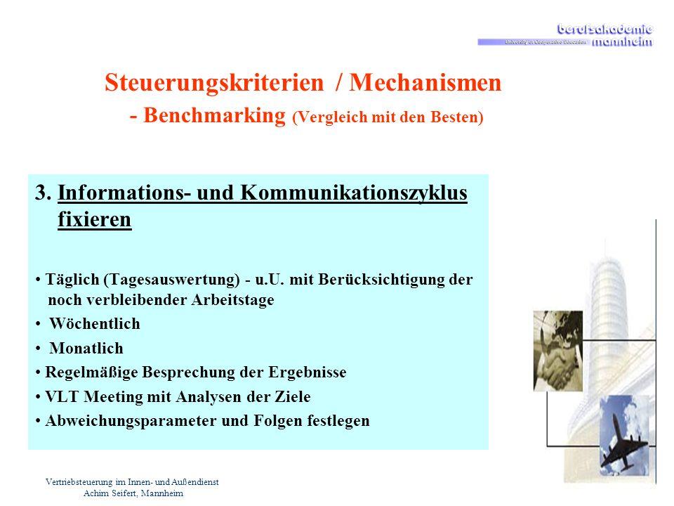 Vertriebsteuerung im Innen- und Außendienst Achim Seifert, Mannheim Steuerungskriterien / Mechanismen - Benchmarking (Vergleich mit den Besten) 3. Inf