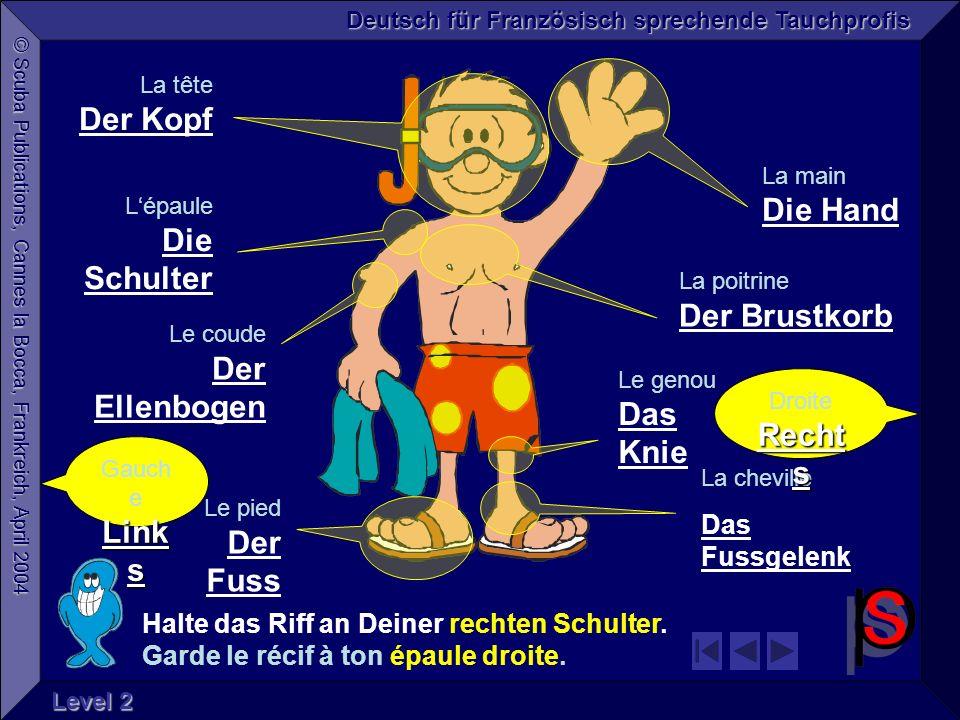 © Scuba Publications, Cannes la Bocca, Frankreich, April 2004 Deutsch für Französisch sprechende Tauchprofis Level 2 Halte das Riff an Deiner rechten Schulter.