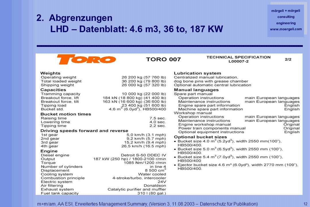 mörgeli + mörgeli consulting engineering www.moergeli.com m+m/am, AA ESI, Erweitertes Management Summary, (Version 3, 11.08.2003 – Datenschutz für Publikation) 12 2.