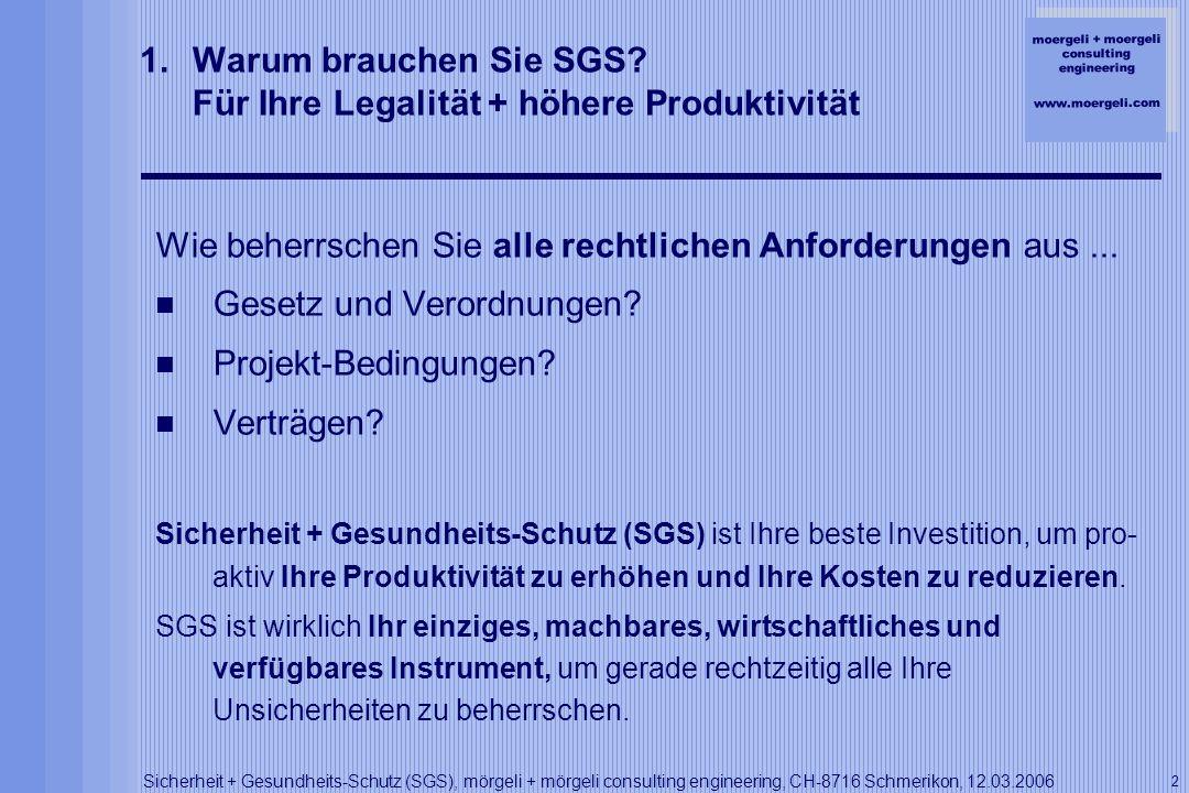 moergeli + moergeli consulting engineering www.moergeli.com Sicherheit + Gesundheits-Schutz (SGS), mörgeli + mörgeli consulting engineering, CH-8716 Schmerikon, 12.03.2006 3 2.