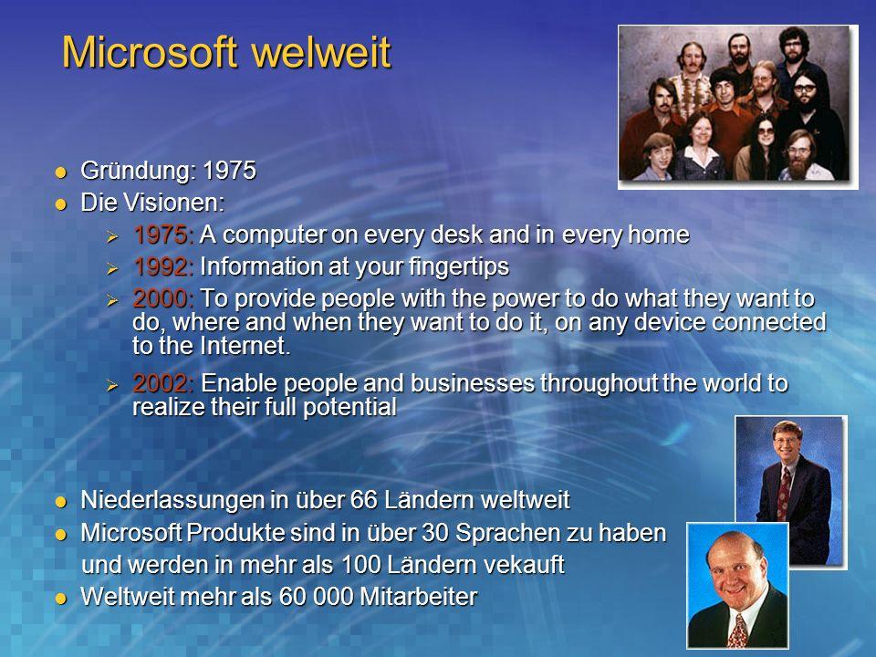 Microsoft welweit Gründung: 1975 Gründung: 1975 Die Visionen: Die Visionen: 1975: A computer on every desk and in every home 1975: A computer on every