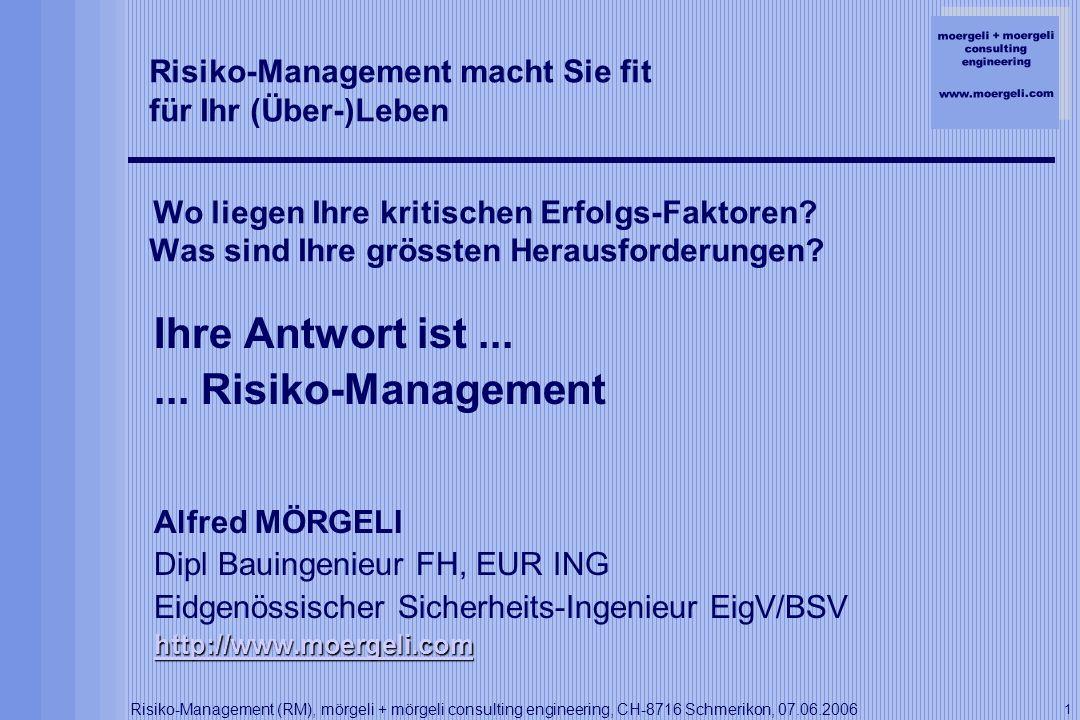 moergeli + moergeli consulting engineering www.moergeli.com Risiko-Management (RM), mörgeli + mörgeli consulting engineering, CH-8716 Schmerikon, 07.06.2006 12 6.Risiko-Management in der Praxis Massnahmen-Planung / Umsetzung Evakuations-Plan TBM-Nachläufer Original-Plan rowa: http://www.rowa-ag.ch Brandbekämpfung (AFFF) auf TBM: ARGE Gotthard Nord (AGN): http://www.agn-amsteg.ch