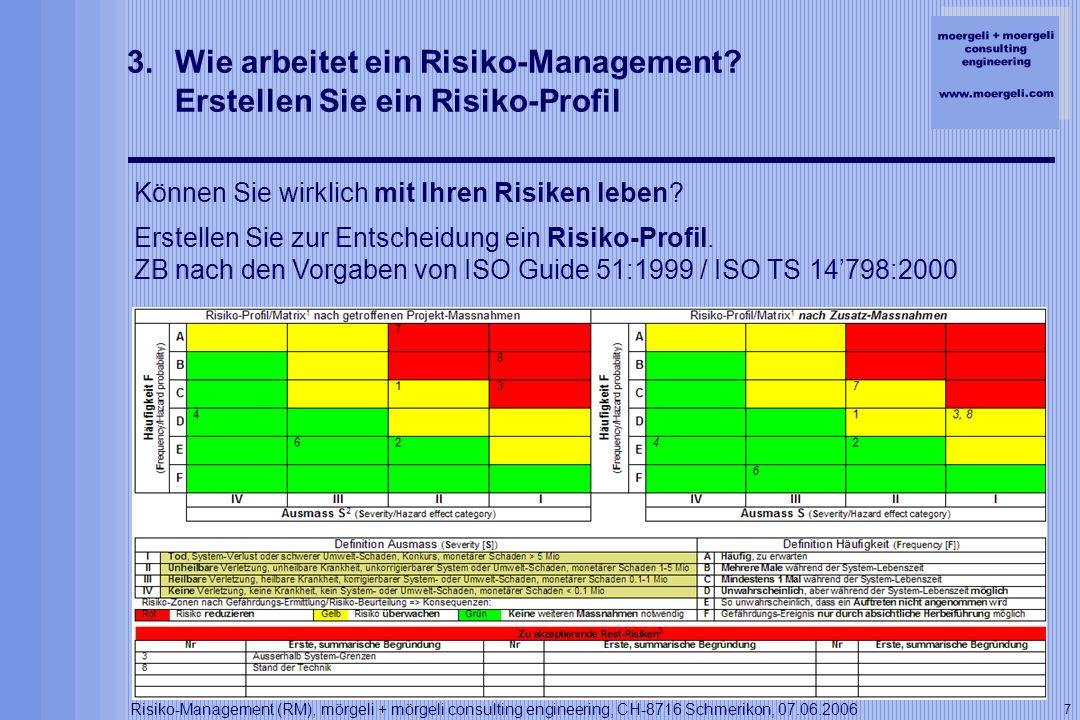 moergeli + moergeli consulting engineering www.moergeli.com Risiko-Management (RM), mörgeli + mörgeli consulting engineering, CH-8716 Schmerikon, 07.06.2006 8 3.Wie arbeitet ein Risiko-Management.