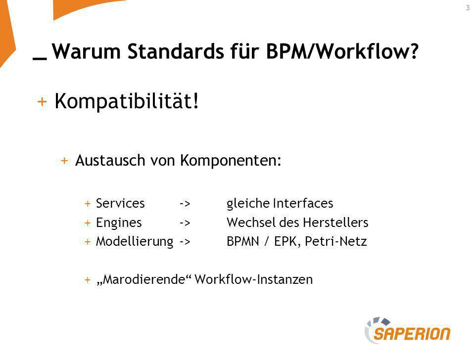 _ 3 Warum Standards für BPM/Workflow? +Kompatibilität! +Austausch von Komponenten: +Services -> gleiche Interfaces +Engines ->Wechsel des Herstellers
