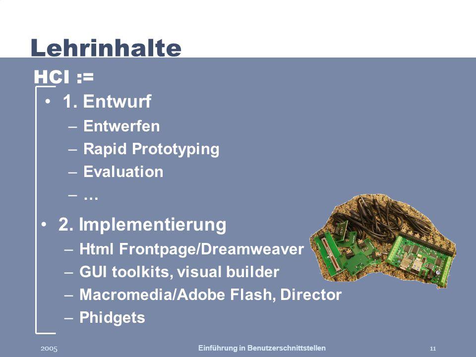 2005Einführung in Benutzerschnittstellen11 Lehrinhalte 2. Implementierung –Html Frontpage/Dreamweaver –GUI toolkits, visual builder –Macromedia/Adobe