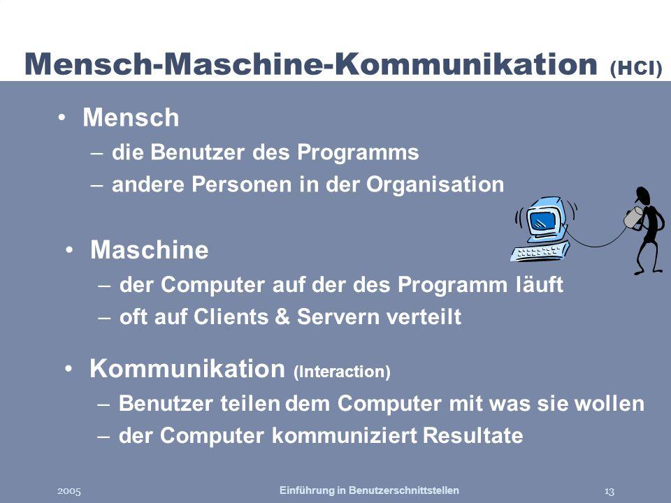 2005Einführung in Benutzerschnittstellen13 Maschine –der Computer auf der des Programm läuft –oft auf Clients & Servern verteilt Mensch-Maschine-Kommu