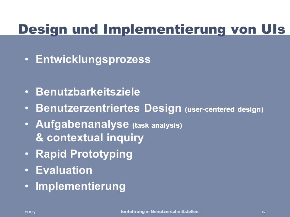 2005Einführung in Benutzerschnittstellen17 Design und Implementierung von UIs Entwicklungsprozess Benutzbarkeitsziele Benutzerzentriertes Design (user