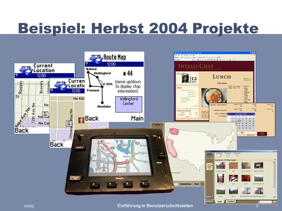 2005Einführung in Benutzerschnittstellen2 Beispiel: Herbst 2004 Projekte