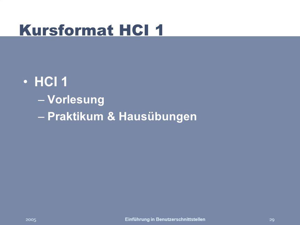 2005Einführung in Benutzerschnittstellen29 Kursformat HCI 1 HCI 1 –Vorlesung –Praktikum & Hausübungen