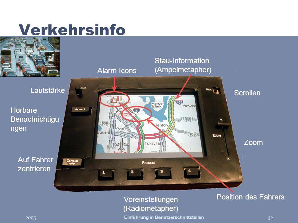 2005Einführung in Benutzerschnittstellen32 Verkehrsinfo Alarm Icons Scrollen Zoom Voreinstellungen (Radiometapher) Auf Fahrer zentrieren Hörbare Benac