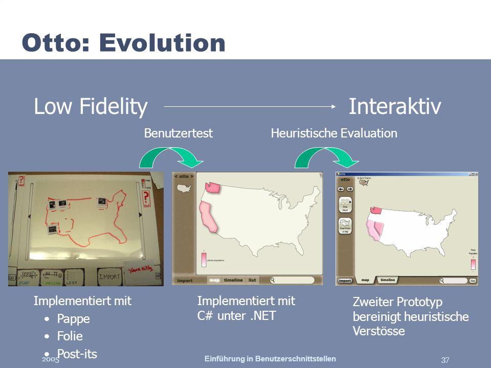 2005Einführung in Benutzerschnittstellen37 Otto: Evolution Low FidelityInteraktiv Implementiert mit C# unter.NET Heuristische EvaluationBenutzertest Z