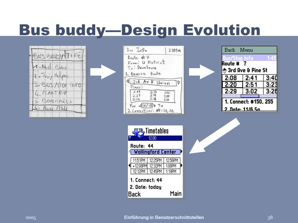 2005Einführung in Benutzerschnittstellen38 Bus buddyDesign Evolution