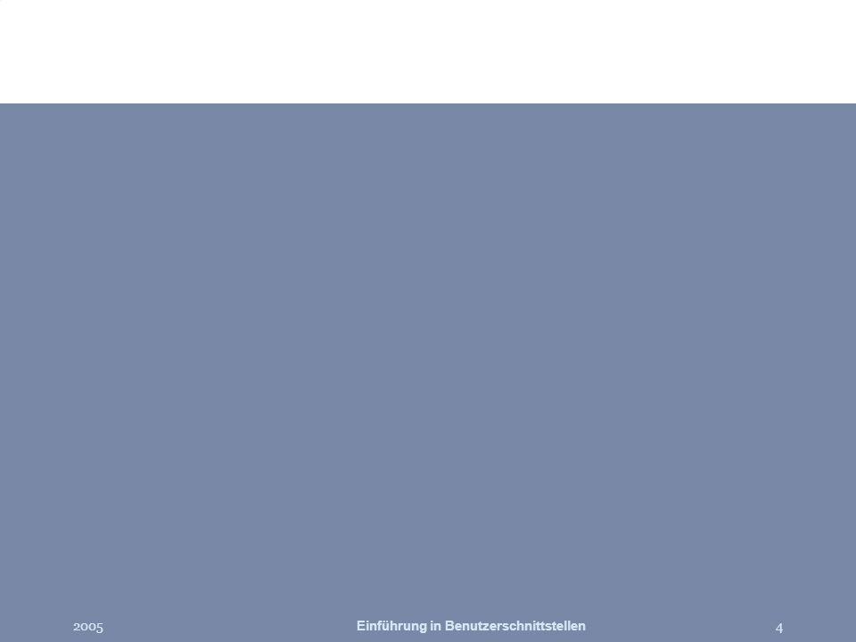 2005Einführung in Benutzerschnittstellen45 Literatur The Design of Sites by van Duyne, Landay, & Hong Lehrbücher –Human-Computer Interaction by Alan Dix, et.