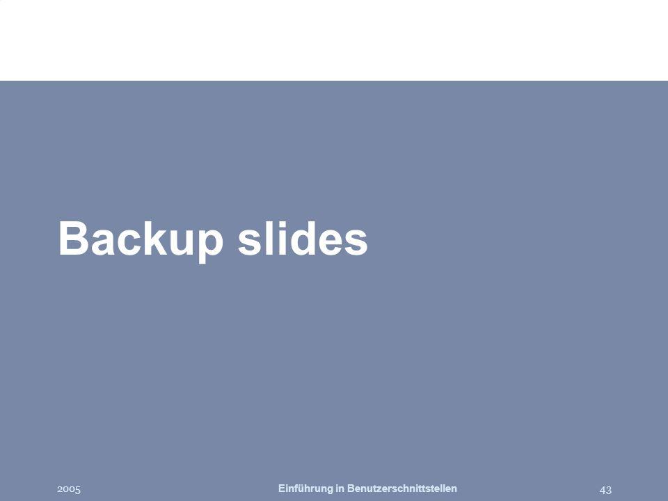 2005Einführung in Benutzerschnittstellen43 Backup slides