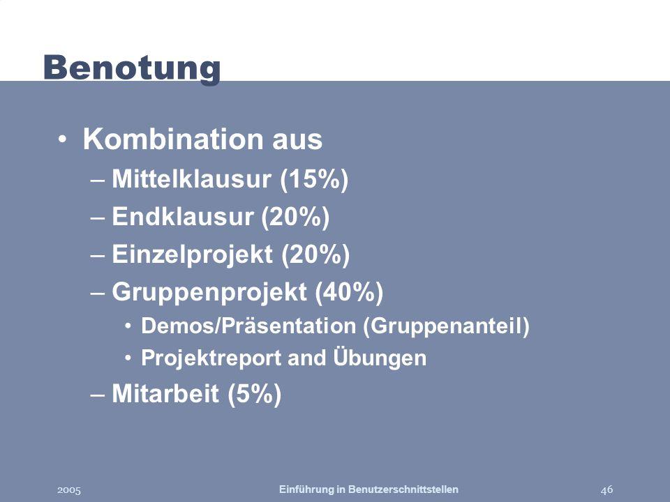 2005Einführung in Benutzerschnittstellen46 Benotung Kombination aus –Mittelklausur (15%) –Endklausur (20%) –Einzelprojekt (20%) –Gruppenprojekt (40%)