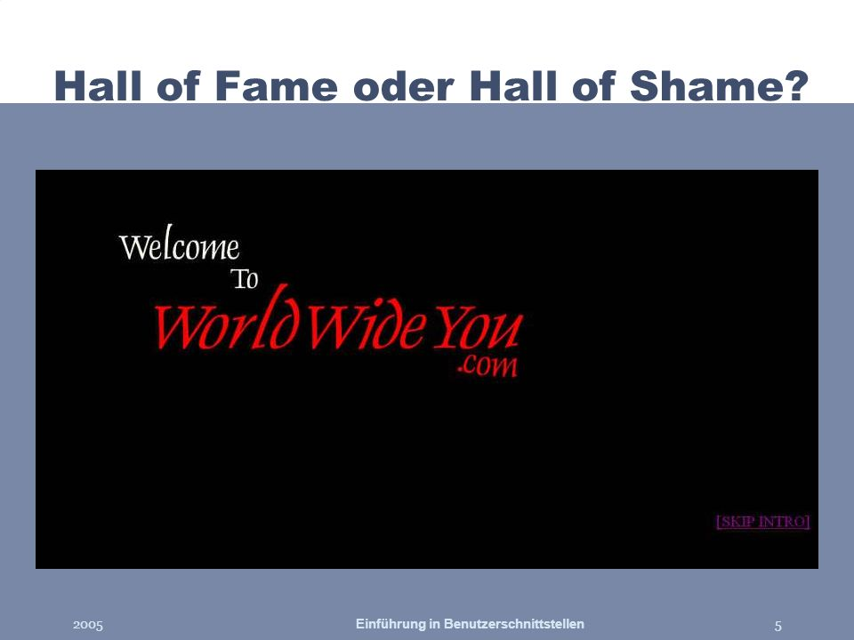 2005Einführung in Benutzerschnittstellen5 Hall of Fame oder Hall of Shame?