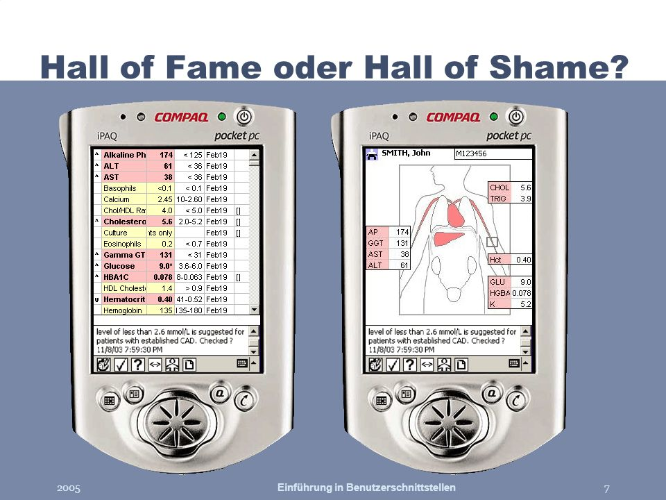 2005Einführung in Benutzerschnittstellen7 Hall of Fame oder Hall of Shame?