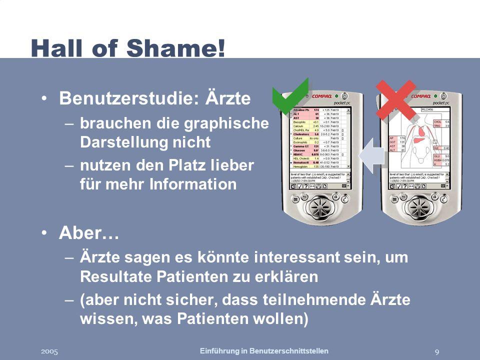 2005Einführung in Benutzerschnittstellen9 Hall of Shame! Benutzerstudie: Ärzte –brauchen die graphische Darstellung nicht –nutzen den Platz lieber für