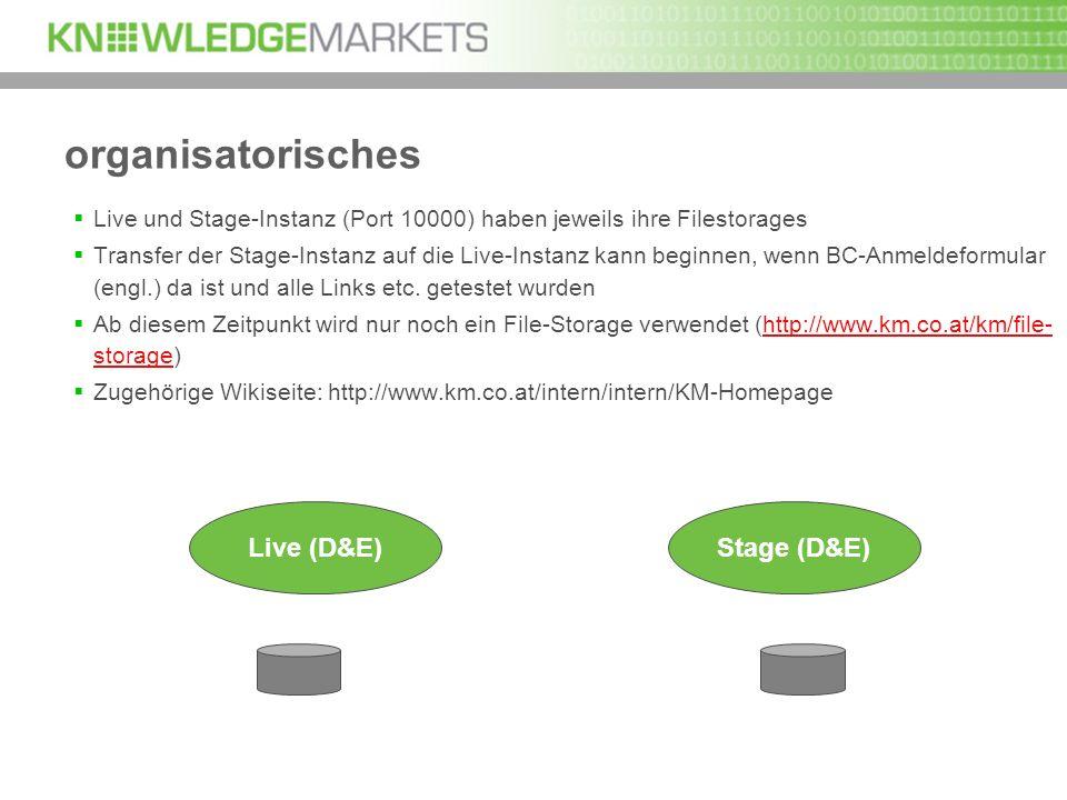 organisatorisches Live und Stage-Instanz (Port 10000) haben jeweils ihre Filestorages Transfer der Stage-Instanz auf die Live-Instanz kann beginnen, w