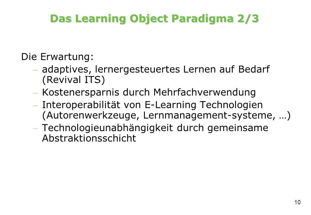 10 Das Learning Object Paradigma 2/3 Die Erwartung: – adaptives, lernergesteuertes Lernen auf Bedarf (Revival ITS) – Kostenersparnis durch Mehrfachverwendung – Interoperabilität von E-Learning Technologien (Autorenwerkzeuge, Lernmanagement-systeme, …) – Technologieunabhängigkeit durch gemeinsame Abstraktionsschicht