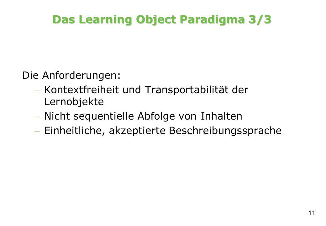 11 Das Learning Object Paradigma 3/3 Die Anforderungen: – Kontextfreiheit und Transportabilität der Lernobjekte – Nicht sequentielle Abfolge von Inhalten – Einheitliche, akzeptierte Beschreibungssprache