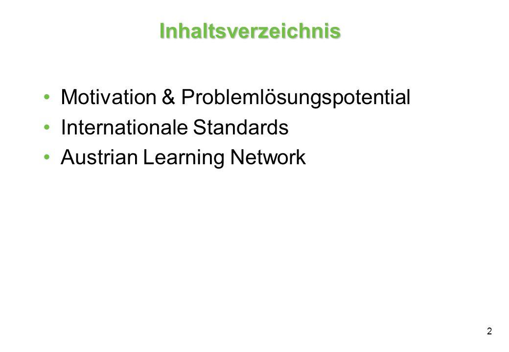 2 Inhaltsverzeichnis Motivation & Problemlösungspotential Internationale Standards Austrian Learning Network