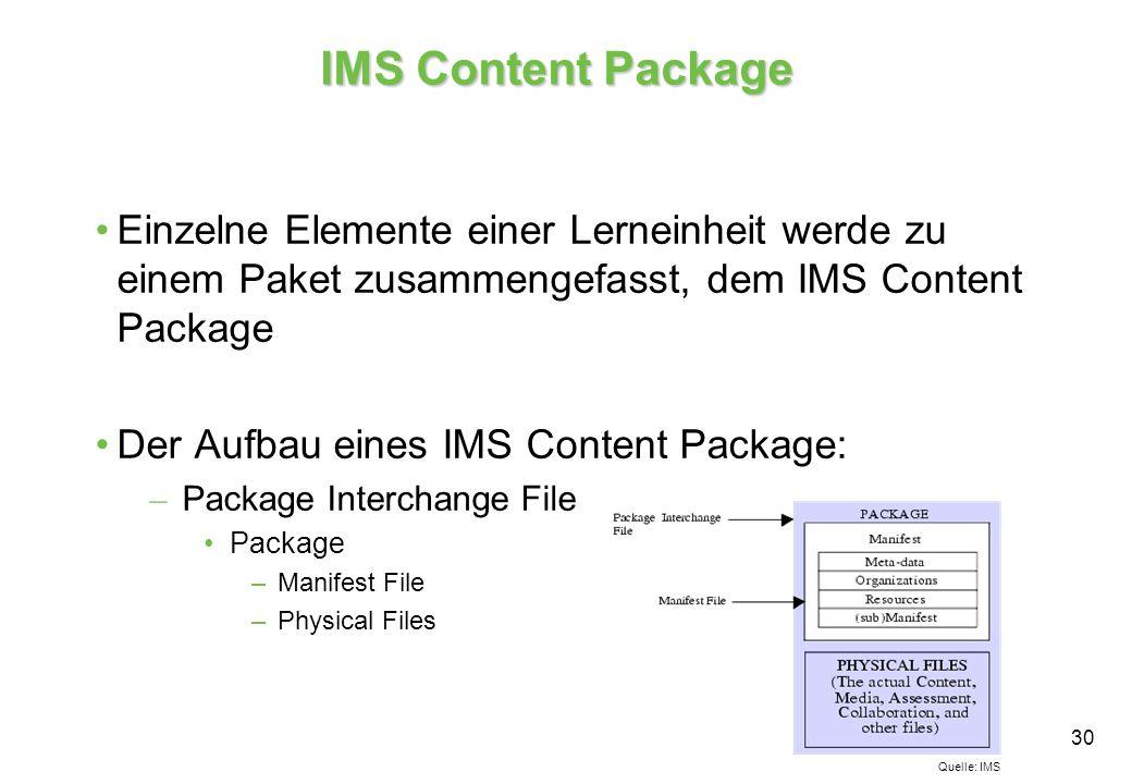 30 IMS Content Package Einzelne Elemente einer Lerneinheit werde zu einem Paket zusammengefasst, dem IMS Content Package Der Aufbau eines IMS Content Package: – Package Interchange File Package –Manifest File –Physical Files Quelle: IMS