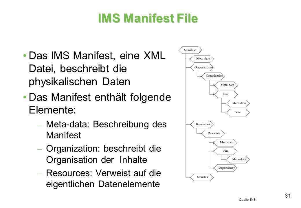 31 IMS Manifest File Das IMS Manifest, eine XML Datei, beschreibt die physikalischen Daten Das Manifest enthält folgende Elemente: – Meta-data: Beschreibung des Manifest – Organization: beschreibt die Organisation der Inhalte – Resources: Verweist auf die eigentlichen Datenelemente Quelle: IMS