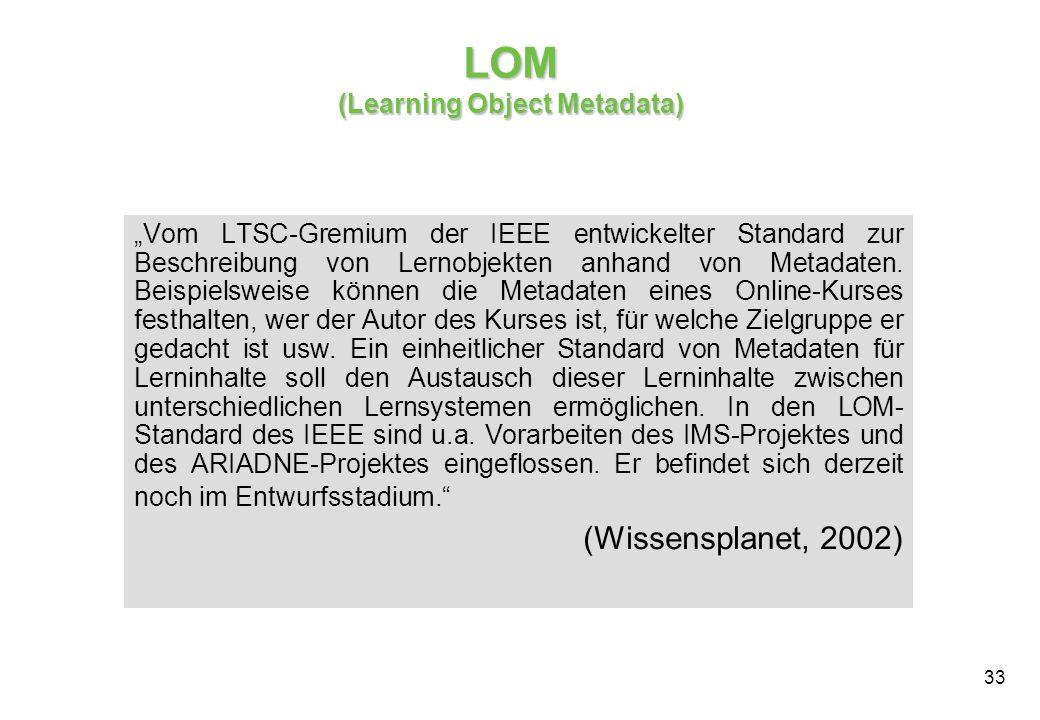 33 LOM (Learning Object Metadata) Vom LTSC-Gremium der IEEE entwickelter Standard zur Beschreibung von Lernobjekten anhand von Metadaten.