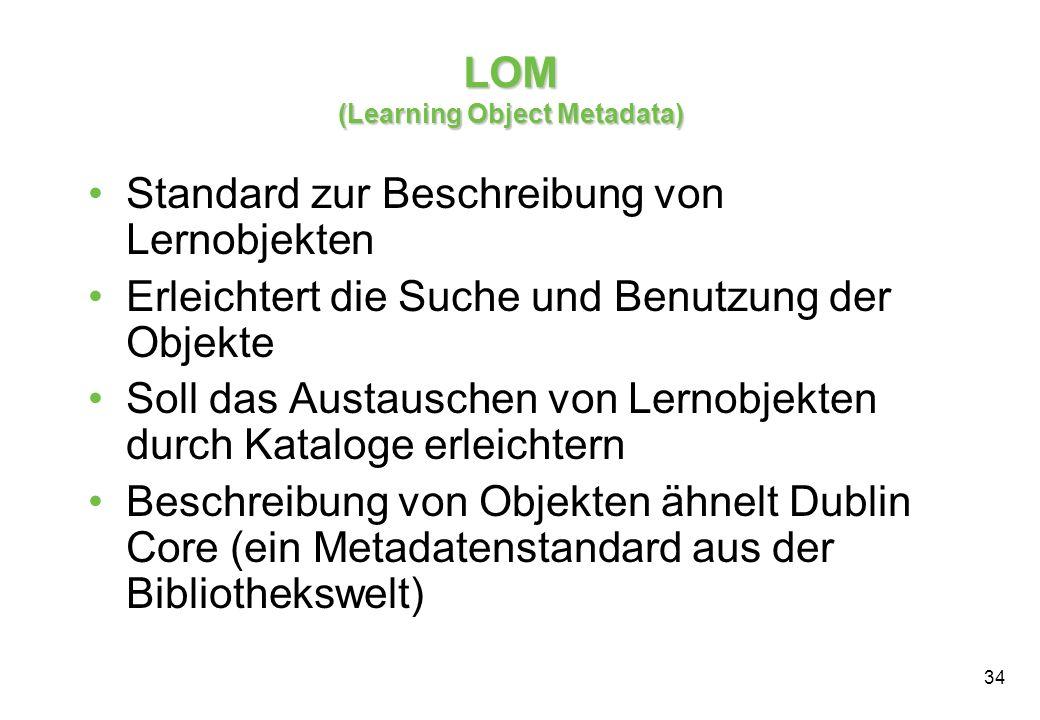 34 Standard zur Beschreibung von Lernobjekten Erleichtert die Suche und Benutzung der Objekte Soll das Austauschen von Lernobjekten durch Kataloge erleichtern Beschreibung von Objekten ähnelt Dublin Core (ein Metadatenstandard aus der Bibliothekswelt) LOM (Learning Object Metadata)