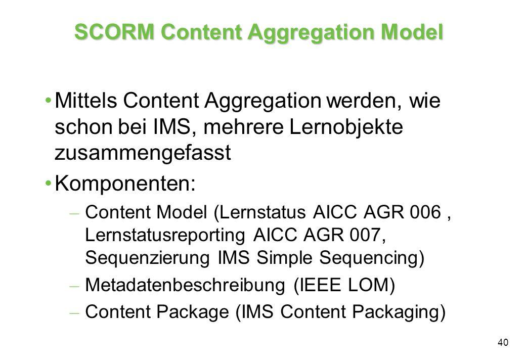 40 SCORM Content Aggregation Model Mittels Content Aggregation werden, wie schon bei IMS, mehrere Lernobjekte zusammengefasst Komponenten: – Content Model (Lernstatus AICC AGR 006, Lernstatusreporting AICC AGR 007, Sequenzierung IMS Simple Sequencing) – Metadatenbeschreibung (IEEE LOM) – Content Package (IMS Content Packaging)