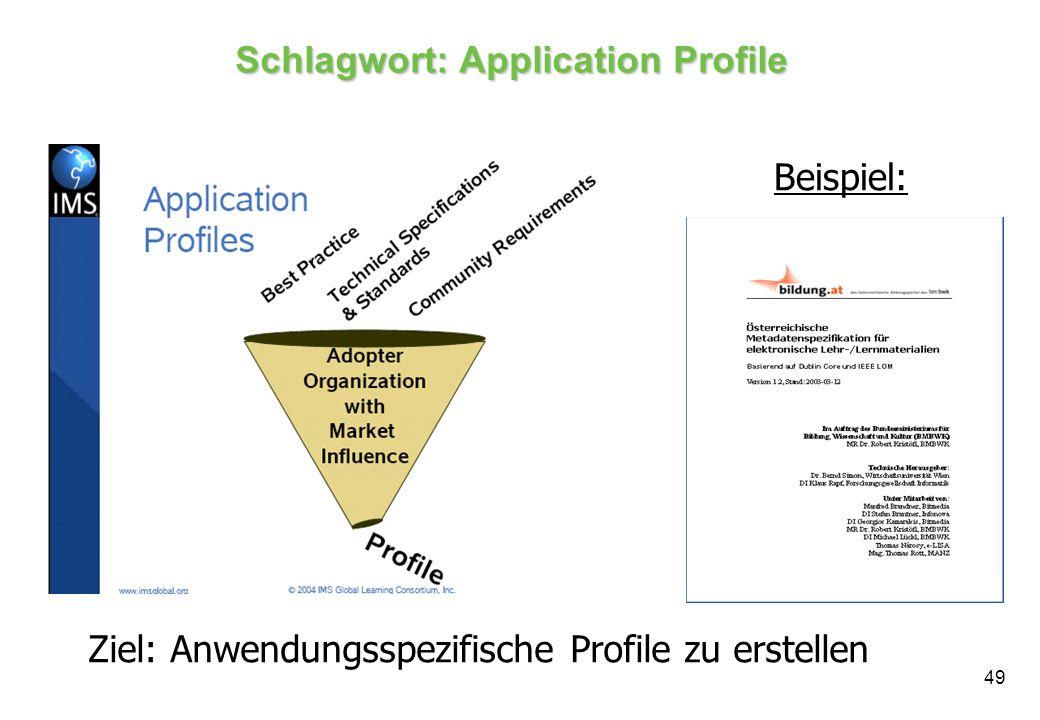 49 Schlagwort: Application Profile Ziel: Anwendungsspezifische Profile zu erstellen Beispiel: