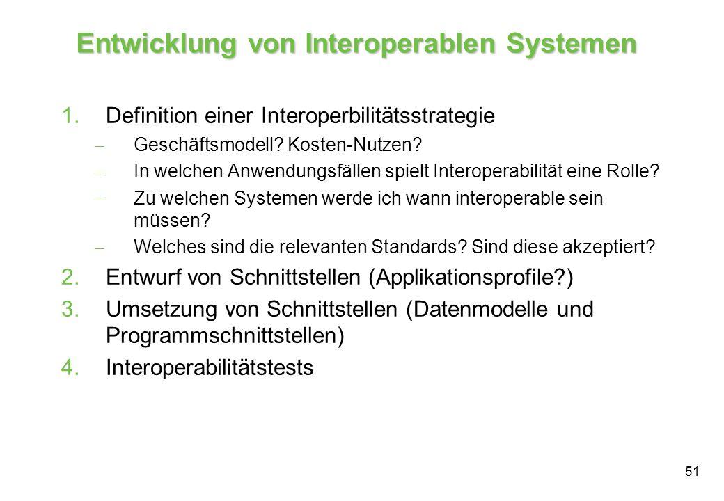 51 Entwicklung von Interoperablen Systemen 1.Definition einer Interoperbilitätsstrategie – Geschäftsmodell.