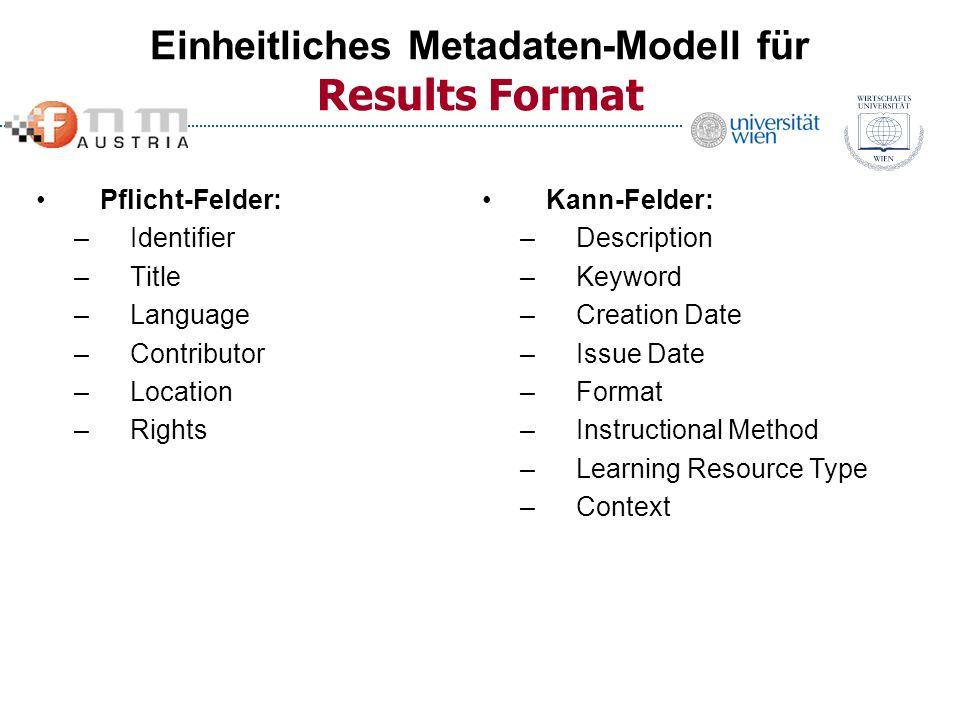 Einheitliches Metadaten-Modell für Results Format Pflicht-Felder: –Identifier –Title –Language –Contributor –Location –Rights Kann-Felder: –Descriptio