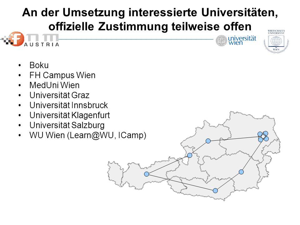 An der Umsetzung interessierte Universitäten, offizielle Zustimmung teilweise offen Boku FH Campus Wien MedUni Wien Universität Graz Universität Innsb