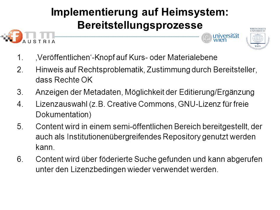 Implementierung auf Heimsystem: Bereitstellungsprozesse 1.Veröffentlichen-Knopf auf Kurs- oder Materialebene 2.Hinweis auf Rechtsproblematik, Zustimmu
