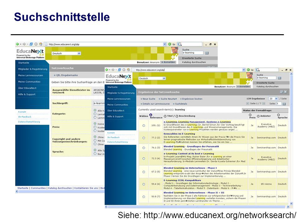Suchschnittstelle Siehe: http://www.educanext.org/networksearch/