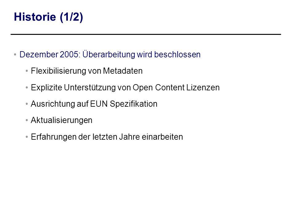 Historie (1/2) Dezember 2005: Überarbeitung wird beschlossen Flexibilisierung von Metadaten Explizite Unterstützung von Open Content Lizenzen Ausricht