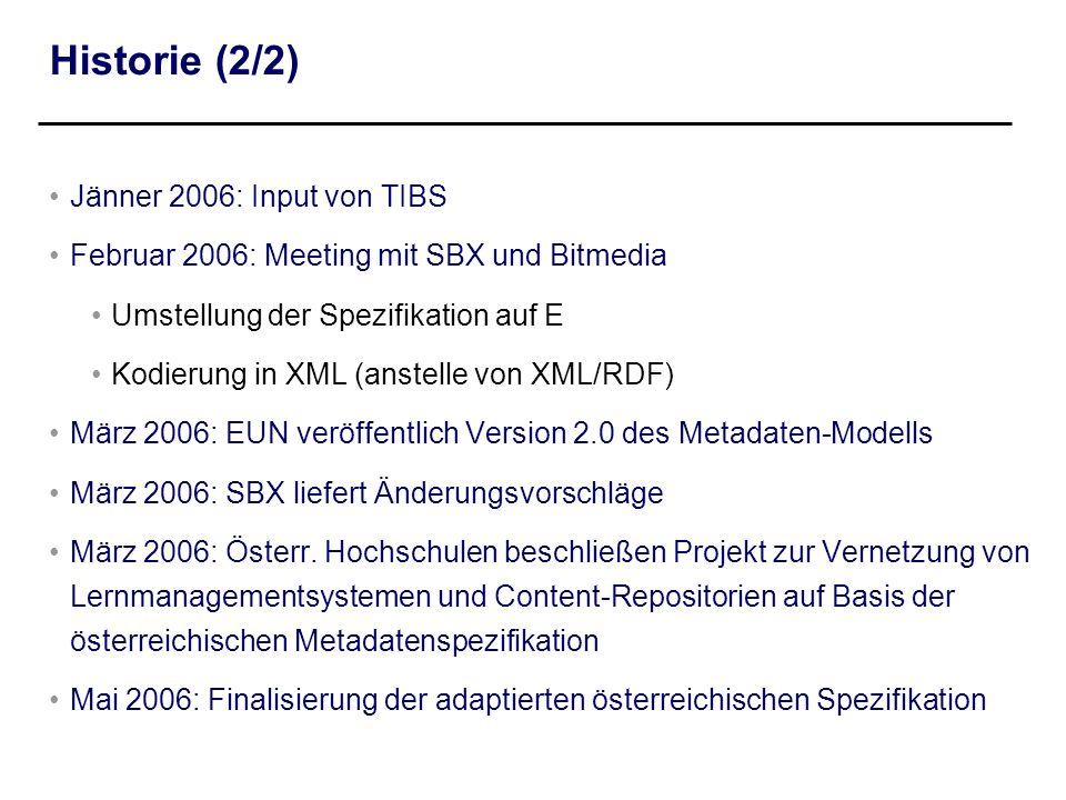 Historie (2/2) Jänner 2006: Input von TIBS Februar 2006: Meeting mit SBX und Bitmedia Umstellung der Spezifikation auf E Kodierung in XML (anstelle vo