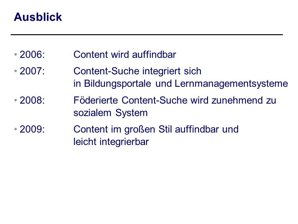 Ausblick 2006: Content wird auffindbar 2007: Content-Suche integriert sich in Bildungsportale und Lernmanagementsysteme 2008: Föderierte Content-Suche