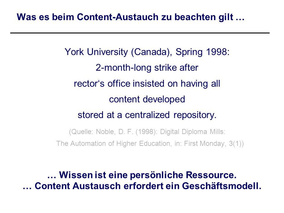 Was es beim Content-Austauch zu beachten gilt … York University (Canada), Spring 1998: 2-month-long strike after rectors office insisted on having all