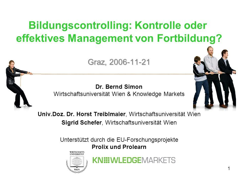 1 Graz, 2006-11-21 Bildungscontrolling: Kontrolle oder effektives Management von Fortbildung? Graz, 2006-11-21 Dr. Bernd Simon Wirtschaftsuniversität