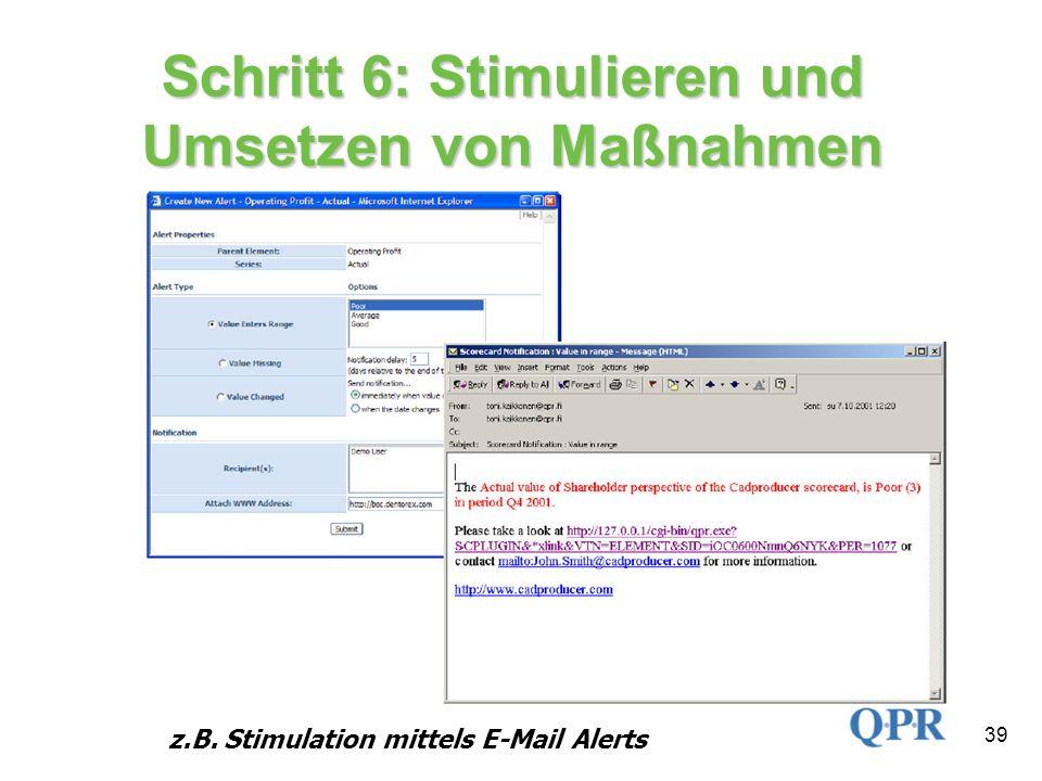 39 Schritt 6: Stimulieren und Umsetzen von Maßnahmen z.B. Stimulation mittels E-Mail Alerts