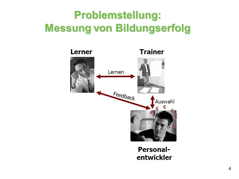 4 Problemstellung: Messung von Bildungserfolg LernerTrainer Personal- entwickler Lernen Feedback Auswahl